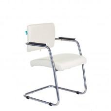 Конференц-кресло Бюрократ CH-271N-V/SL белое (искусственная кожа/металл)
