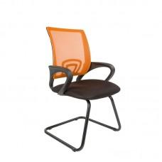 Конференц-кресло Chairman 696 V на полозьях черное/оранжевое (сетка/металл)