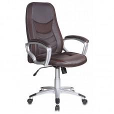 Кресло для руководителя T-9910 коричневое (искусственная кожа/пластик)