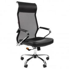 Кресло для руководителя Easy Chair 642 TPU Sakura черное (ткань/сетка/искусственная кожа/металл)