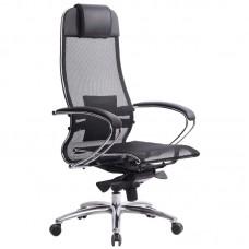 Кресло для руководителя Метта Samurai S-1.03 черное (сетка/экокожа/металл)