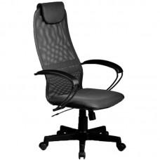 Кресло для руководителя Метта BР-8 PL серое (ткань/сетка/экокожа/металл/пластик)