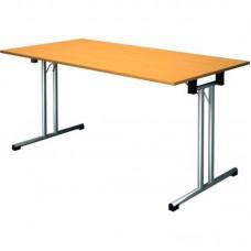 Стол складной FT140 (прямоугольный, каркас серебр.металлик, столешница ЛДСП вишня)