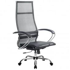 Кресло для руководителя Метта SK-1-BK-7 черное (сетка/искусственная кожа/хромированный металл)