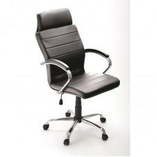 Кресло для руководителя Аркадия черное (искусственная кожа/хромированный металл)