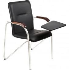 Конференц-кресло Samba ST черный (искусственная кожа/орех/металл серебристый)