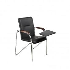Конференц-кресло Samba ST черный (искусственная кожа/орех/металл хромированный)