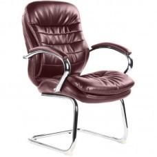Конференц-кресло Easy Chair 515 VR на полозьях коричневое (рециклированная кожа/металл хромированный)