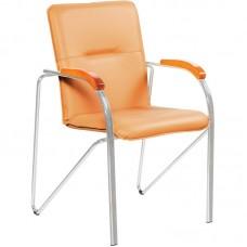 Конференц-кресло Samba silver бежевый (искусственная кожа/вишня/металл серебристый)