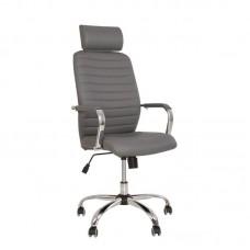 Кресло для руководителя Bruno HR серое (металл/искусственная кожа)