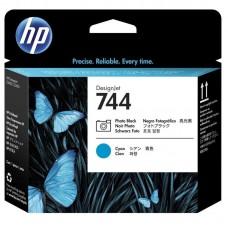 Головка печатающая HP 744 F9J86A фото черная и голубая оригинальная