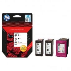 Набор картриджей струйный HP 46 F6T40AE оригинальный 2 черных и цветной