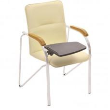 Конференц-кресло Samba ST светло-бежевое (кожзаменитель/бук/металл серебристый)