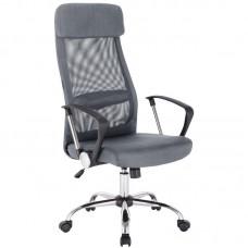 Кресло для руководителя Easy Chair 589 TC черное/серое (сетка/ткань/хромированный металл)