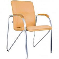Конференц-кресло Samba бежевый (искусственная кожа/вишня/металл хромированный)