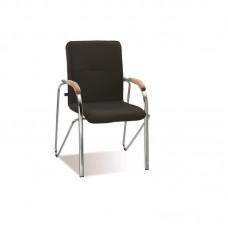 Конференц-кресло Samba черный (искусственная кожа/вишня/металл хромированный)