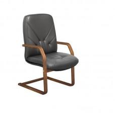 Конференц-кресло Менеджер на полозьях черное (кожа/орех)