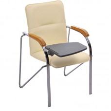 Конференц-кресло Samba ST светло-бежевое (кожзаменитель/бук/металл хромированный)