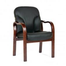 Конференц-кресло Chairman 658 черный (дерево/кожа)