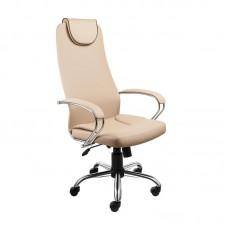 Кресло для руководителя Alvest AV 144 CH бежевое/кофе (экокожа,хромированный металл)