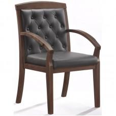 Конференц-кресло Easy Chair 422 KR черный (рециклированная кожа/темный орех)