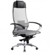 Кресло для руководителя Метта Samurai S-1.03 серое (сетка/экокожа/металл)