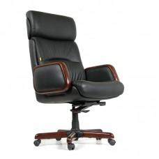 Кресло для руководителя Chairman 417 черное (кожа/дерево)