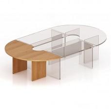 Стол приставной для заседаний сектор Эталон (орех, 180 градусов, 2000x1000x768 мм)