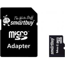 Micro SecureDigital 64Gb Smartbuy SDXC class 10 (SB64GBSDCL10-01) + SD адаптер