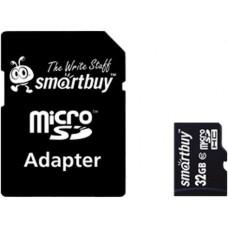 Micro SecureDigital 32Gb Smartbuy SDHC class 10 (SB32GBSDCL10-01) + SD адаптер