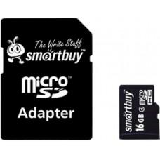 Micro SecureDigital 16Gb Smartbuy SDHC class 10 (SB16GBSDCL10-01) + SD адаптер