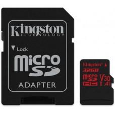 Micro SecureDigital 32Gb Kingston Canvas React SDHC class 10 UHS-I U3 (SDCR/32GB) + SD адаптер