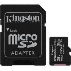 Micro SecureDigital 32Gb Kingston Canvas Select Plus SDHC class 10 UHS-I (SDCS2/32GB) + SD адаптер