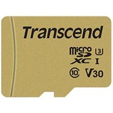 Micro SecureDigital 128Gb Transcend class10 UHS-I U3 (TS128GUSD500S) + SD адаптер